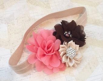 Coral,brown and tan headband,fall headband,flowergirl headband,flower headband,tan headband,baby headband,newborn headband,girls headbands