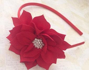 Hard red headband,holiday headband,flower girl headband,flower girl,satin headband,girls headband,redheadband,christmas headband,pointsetta