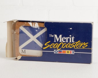 Vintage Set of Six Wood Merit Sea Coasters, Signal Flag Cigarette Memorabilia, Not Recommended for Damp Conditions