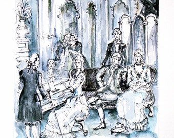 Spiritual concert. Small Theater castle Tuileries. Paris. France. Original watercolor painting.