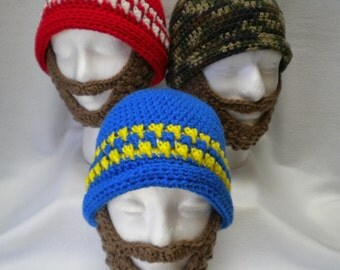 Crocheted Bearded Beanie hat