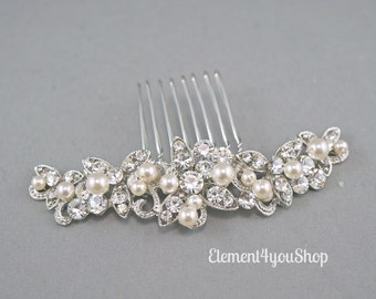Bridal rhinestone comb, Wedding hair comb, Wedding hair piece, Bride hair comb, Wedding head piece, Formal hair do, Ivory white pearl comb