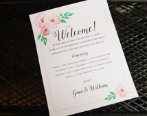 Custom printable welcome letter with itinerary - letter sized