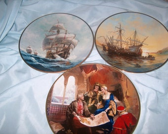 6 Christopher Columbus Plates, Discovers America, 500th Anniversary 1492 - 1992