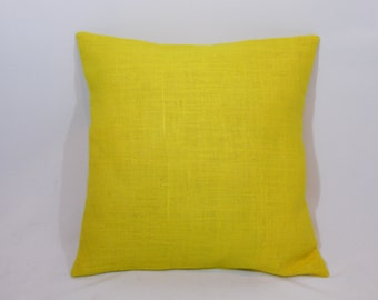 Custom made rustic country yellow burlap pillow cover/sham. Multiple sizes to choose from.