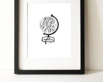 Joy to the World Globe Art Print