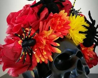 Halloween dia de los muertos/day of the dead spider flower crown