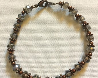 Beaded Antique Copper Toned Bracelet