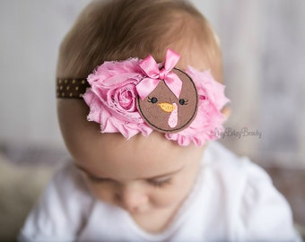 Girls turkey pink and brown chiffon flower fall thanksgiving hair bow headband