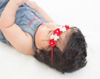 Red and white flower headband baby girls holiday valentines christmas July fourth