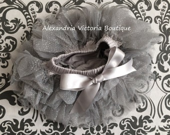 SPARKLY SILVER TUTU Bloomer, chiffon ruffle diaper cover, newborn ruffle all around bloomer, several colors to chose from, holiday, birthday