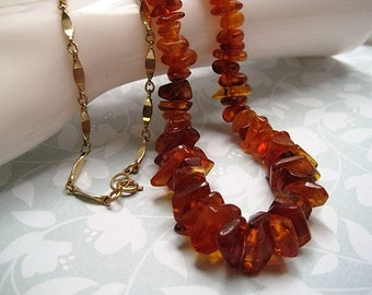 Vintage Chunky Natural Amber Nugget Necklace