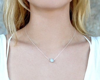 Dainty Blue Lace Agate Raw Gem Stone Necklace // Gold Silver Delicate Chain // Minimal // Short Layering Necklace // Bridesmaid Gift