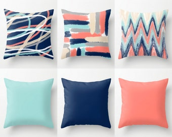 Throw Pillow Covers, Coral Navy Aqua Beige Grey, Mix and Match, Abstract Art, Home Decor (M19) Decorative Pillows