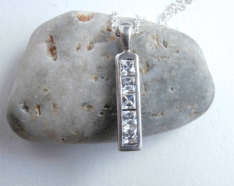 Crystal Bar Necklace - Upcycled Jewelry - Sterling Silver Necklace