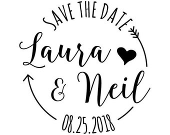 "Round Save the Date Stamp, custom names and date rubber stamp, wedding stamp, wedding favours stamp, diy bride stamp, 1.6""x1.6"" (cts137)"