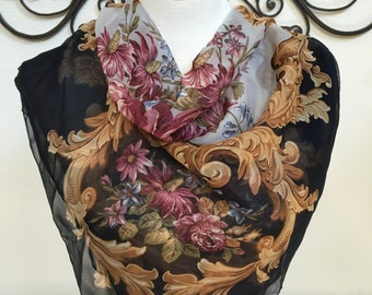 Vintage Smithsonian Institute 1996 Black Pink Floral Silk Square Scarf Made in Japan Wearable Art