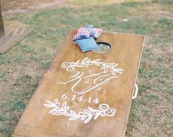 Custom Wedding Monogram Decal - Great for Wedding Bean Bag Board/ Cornhole Board