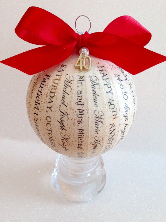 Unusual Ruby Wedding Anniversary Gifts For Parents : 40th Anniversary Gift ~ Unique, Personalized Ornament ~ Parent Gift ...