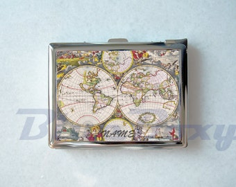 The Map Cigarette Case with Lighter, Cigarette Box, Card Holder