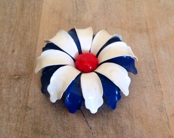 Vintage red-white-& blue, enamel flower, metal brooch- 4th July pin