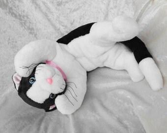 Black and White Tuxedo CAT Stuffed Cat plush stuffed animal cat black white handmade floppy cat unique cuddly cat plush ooak MADE to ORDER
