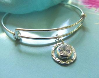 Sterling Silver and CZ - Expandable Over the Wrist Bracelet