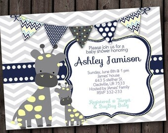 navy blue gray giraffe baby boy shower invitation, giraffe shower invitations, little boy baby shower, yellow white gray  and navy blue