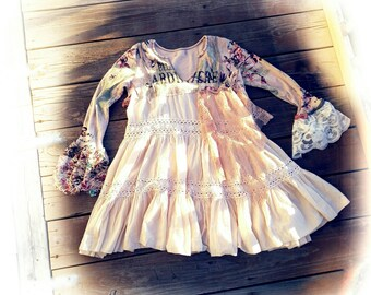Pink Sunshine Shabby Crochet lace Ruffled romantic mini dress altered French country rustic Boho altered Knit tunic mori top