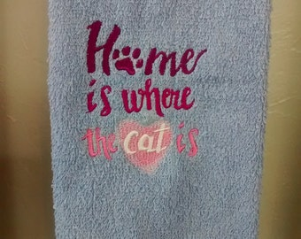 """Blue """"Home is Where the cat is"""" embroidered hand towel"""