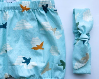 Organic Baby Bloomers with Knotted Headband /Organic baby clothes/ Bird baby bloomers/Knotted Headband / Bubble bloomers /Retro baby clothes
