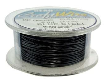 Craft Wire Tarnish Resistant Blue Steel Round Wire 22ga 8yd (WR6722BS)