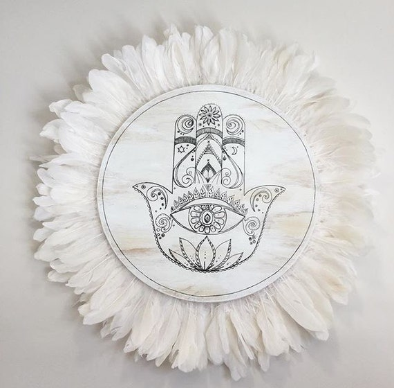 Hamsa Hand + White Feathers Round Wall Art, White & black Boho Design, 75cm Timber Porthole