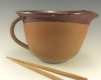 Pottery Batter Bowl Copper Red& Earthtone Glaze Pancake Bowl