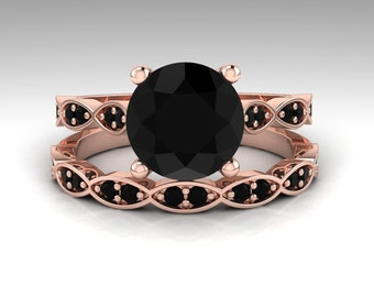 Black Diamond Engagement Rings, Black Diamond Rings, Floral Wedding Rings, 14K Rose Gold Engagement Rings, Solitaire Engagement Ring