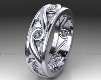 Diamond Eternity Band, 14K White Gold Diamond Wedding Ring, Engagement Ring