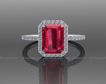Ruby Engagement Ring, Natural Diamond 14k White Gold Halo Ring, Emerald Cut Ruby Wedding Ring Re0005ru