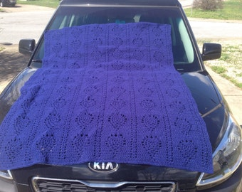 "60"" x 44"" Hand Crocheted Royal Blue Pineapple Pattern Afghan"
