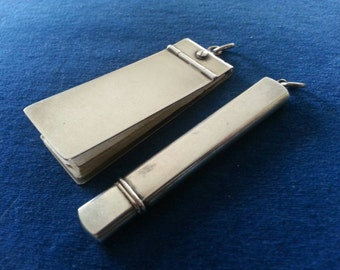 Antique Victorian Sterling Chatelaine Pencil and Aide Memoire