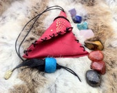 Tumbled Stone Chakra Leather Pouch 8 Crystals : Healer's Gold, Extra Quality Lapis Lazuli, Red Tiger Jasper, Gold Tiger Eye, Chrysocolla ...