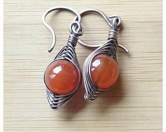 Wire carnelian earrings, copper wire earrings, wire wrap earrings orange carnelian jewelry earrings wire wrapped jewelry copper wire jewelry