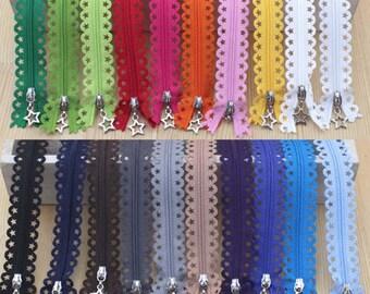 25cm Lace Zipper  - HOT PINK
