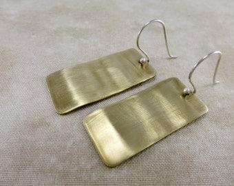 Brass Earrings ~ Geometric Earrings ~ Minimalist Earrings ~ Summer Earrings ~ Lightweight Earrings ~ Dangle Earrings ~ Rectangle Earrings