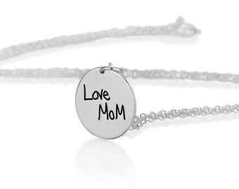 Tiny Memorial Signature Necklace - Personalized Handwriting Necklace - Keepsake Jewelry - Valentine's Gift