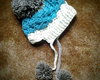 Crochet Child's Winter Hat with Pompoms