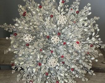IVORY SNOWFLAKE BOUQUET, Brides bouquet, winter wedding, silver bouquet, beaded bouquet, brooch bouquet, wedding bouquet, red wedding
