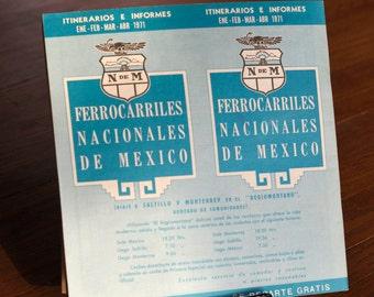Vintage 1971 Ferrocarriles Nacionales De Mexico Railroad Railway Time Table - NdeM En Espanol