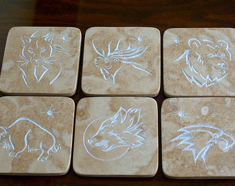 Natural Travertine stone coasters hand carved wild life design home decoration