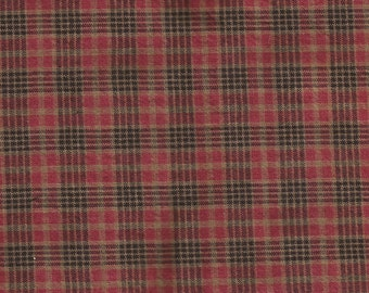 Red & Black Plaid Homespun Cotton Fabric / 1 yard