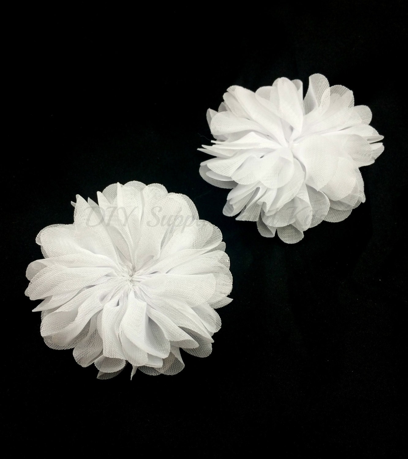 White fabric flower Chiffon flowers Ballerina ruffle
